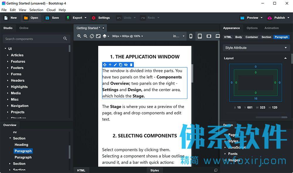 Bootstrap框架制作响应式网站Bootstrap Studio 英文版