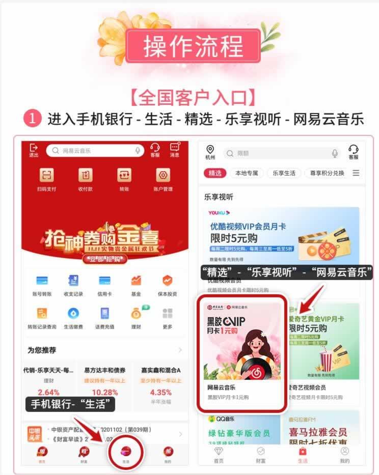 中行_1元购网易云音乐黑胶VIP月卡 (每周二)