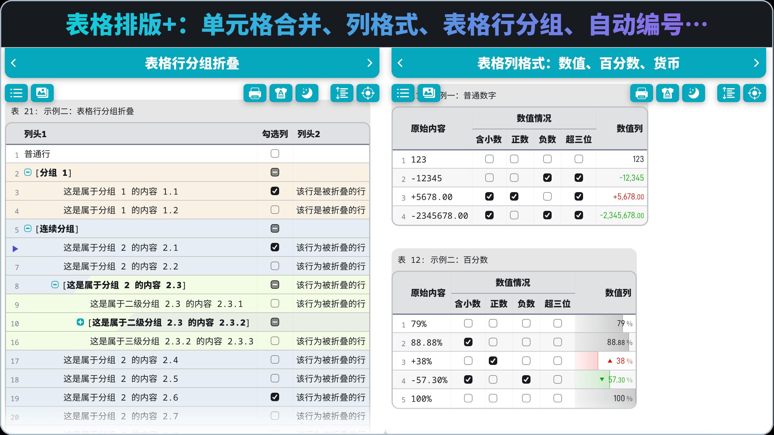 表格排版+:单元格合并、列格式、表格行分组、自动编号、…