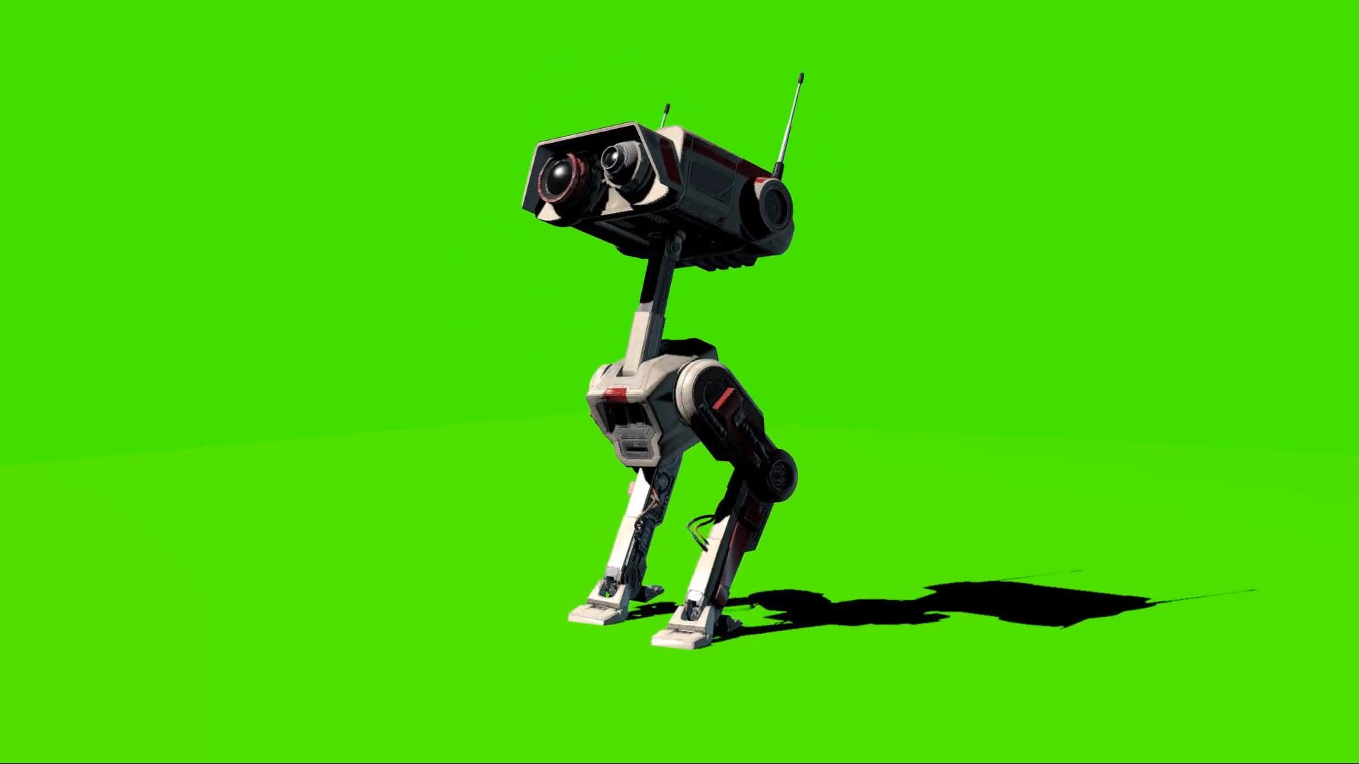绿幕抠像-《星球大战》中的探索机器人绿屏3D动画