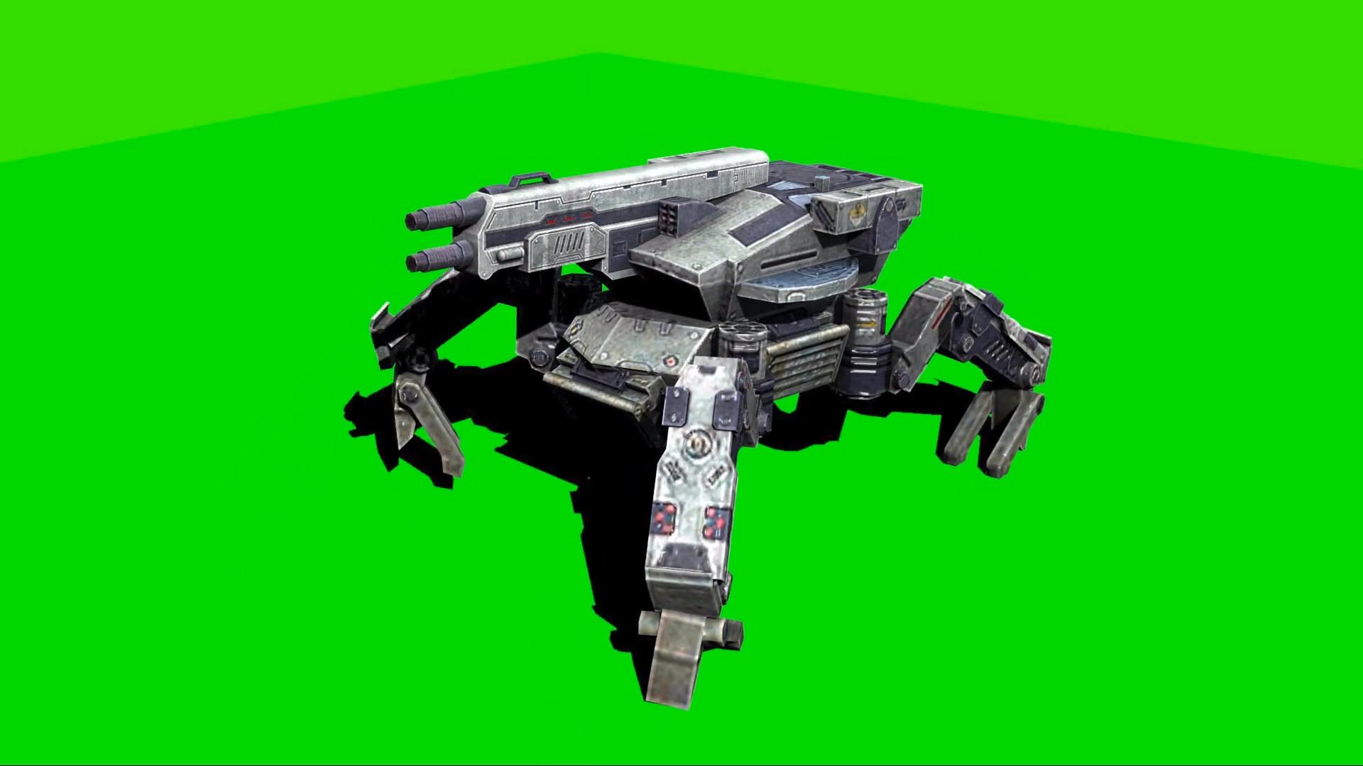绿幕抠像-机械坦克行走和射击绿屏3D动画