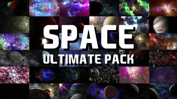 视频素材-宇宙太空行星陨石银河星球动画