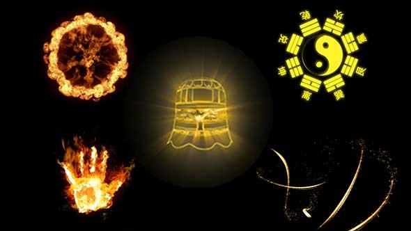 视频素材-武侠科幻魔法武器刀剑火焰光线抠像合成素材