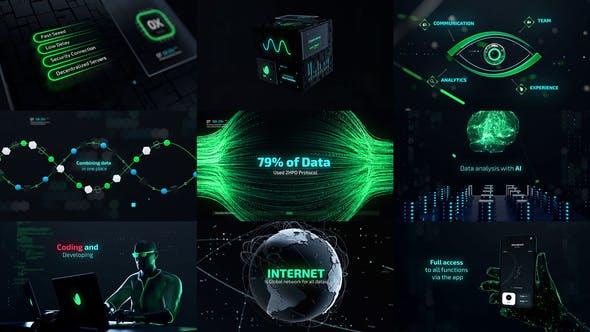 AE模板-未来高科技网络技术数据HUD元素动画