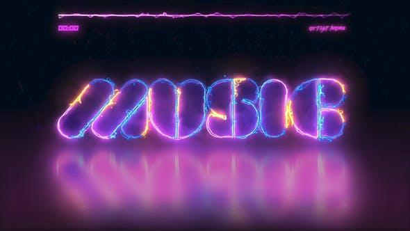 AE模板-霓虹灯电流文字音频可视化动画