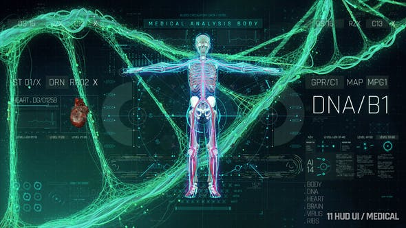 AE模板-高科技医疗DNA细胞全息数字HUD信息界面UI动画