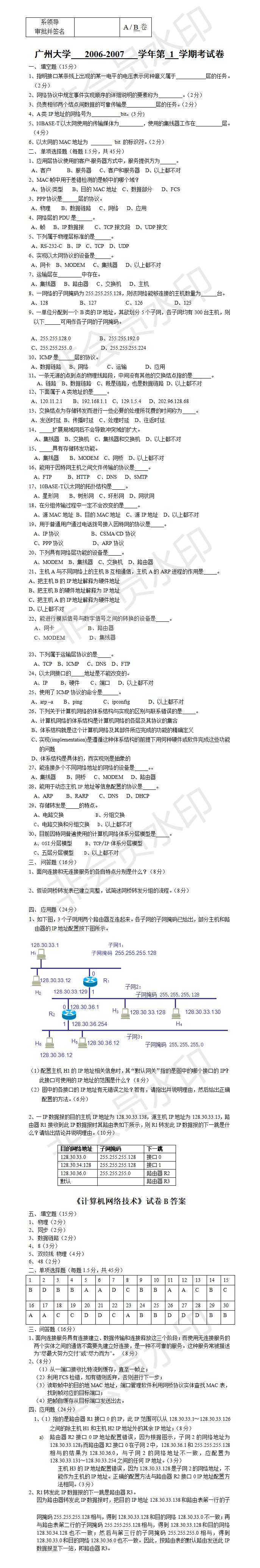广州大学计算机网络B卷含答案