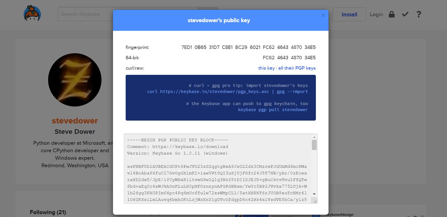 keybase 上的公钥