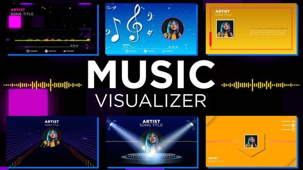 AE模板-音乐摇滚音频频谱波形可视化