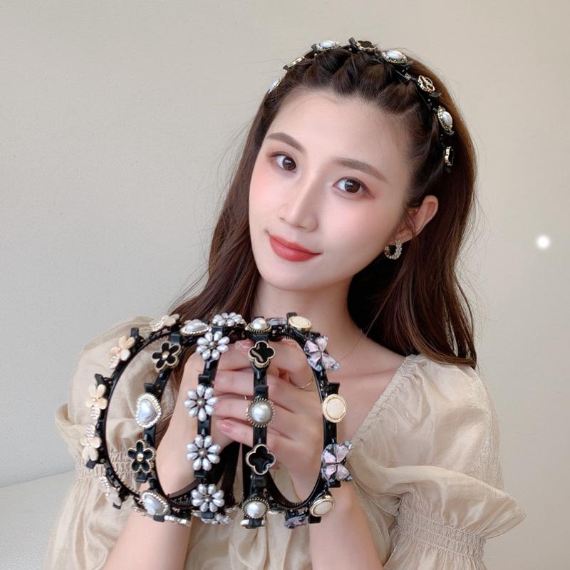 2021年新款网红珍珠编发发箍夏季洗脸压发头箍碎发神器发卡头饰女